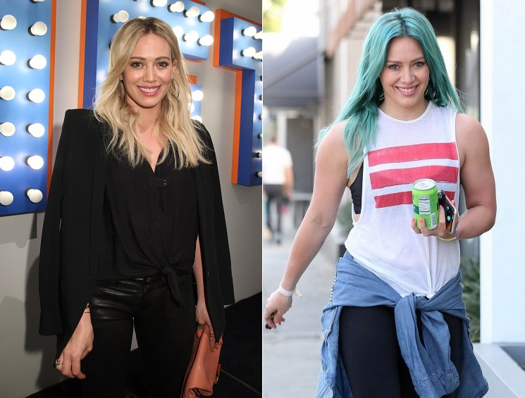 Hilary Duff dyed her hair blue color