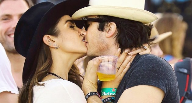 Ian Somerhalder gets kiss from Nikki Reed