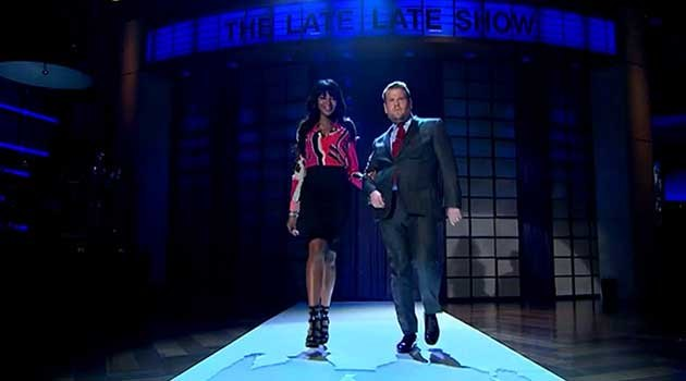 Naomi Campbell and James Corden walk like a supermodel