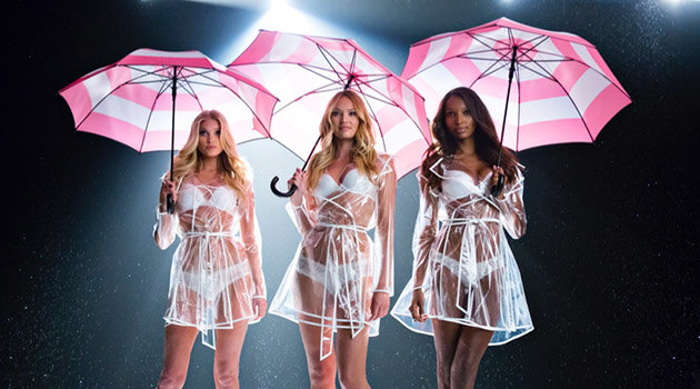 Victoria's Secret angels with umbrellas