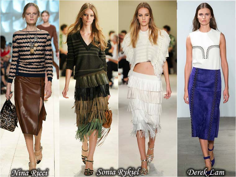 Trendy Summer 2015 leather and suede skirts