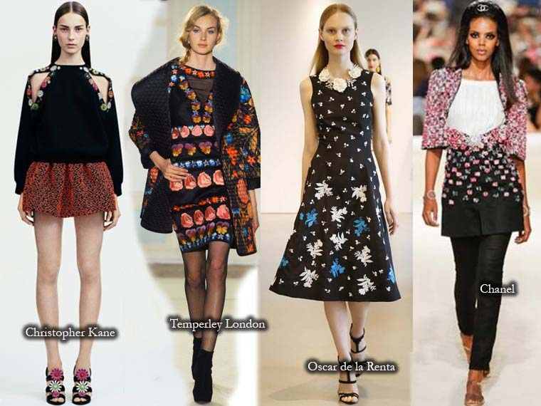 Bright floral prints on black canvas Fall 2015