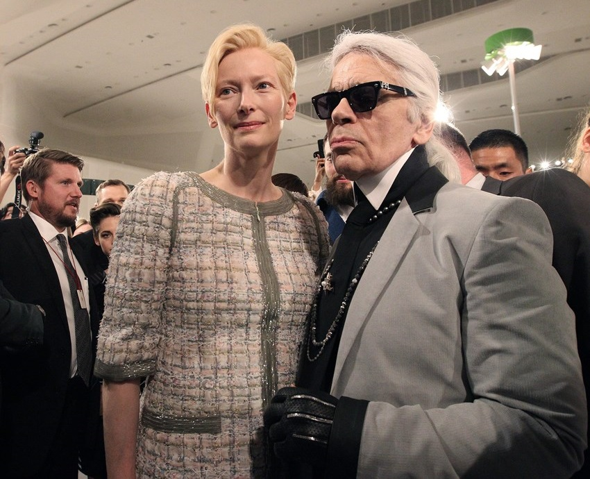 Tilda Swinton and Karl Lagerfeld Chanel Resort Collection 2016 Seoul