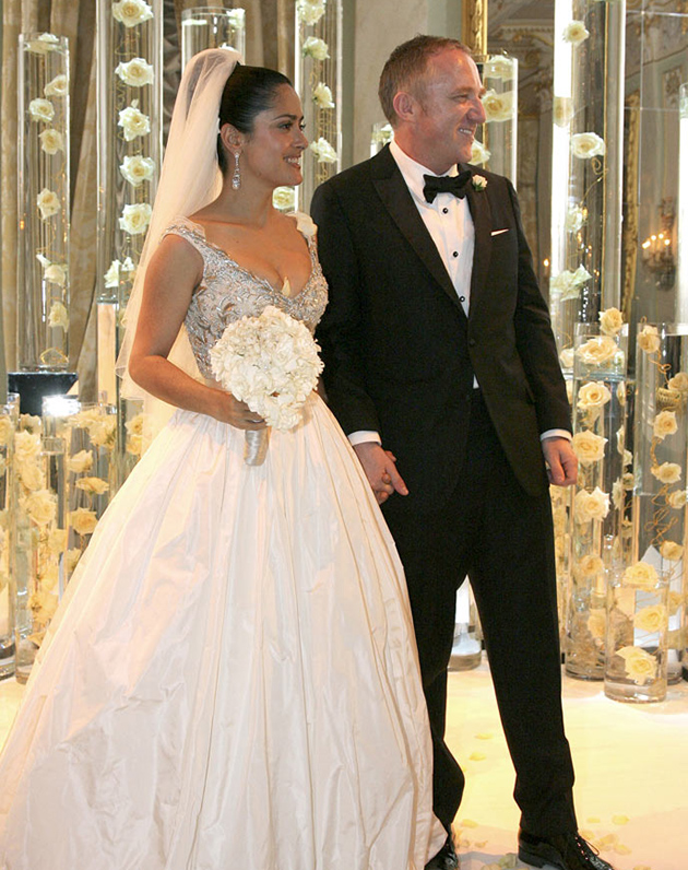 Salma Hayek classic wedding dress with a full skirt and a sparkling top