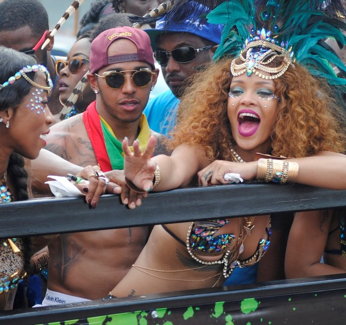 Rihanna at the carnival with her new boyfriend