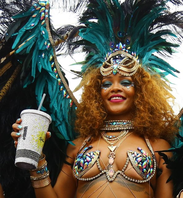 Rihanna parties at the carnival