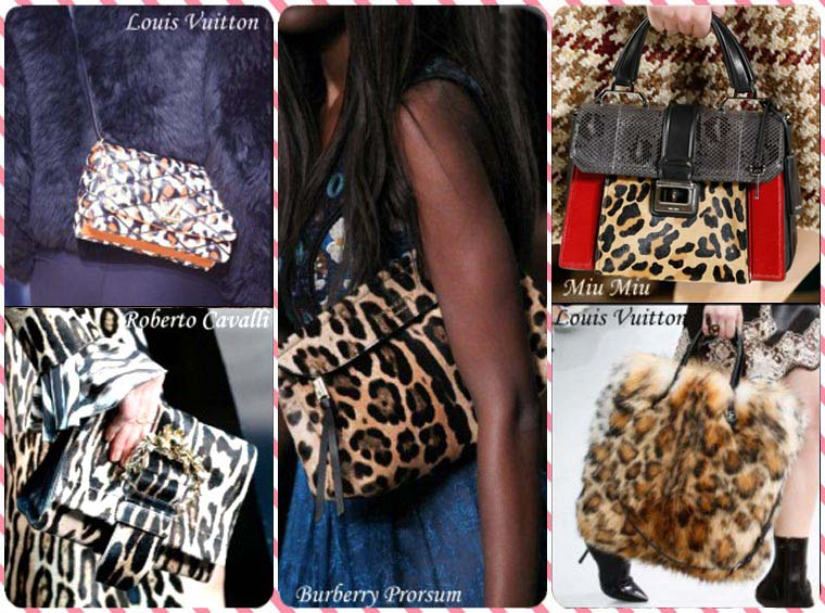 Fall-Winter 2015-2016 fashion handbags with leopard print