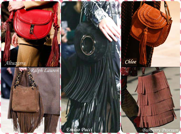 Fringed suede handbags Fall-Winter 2015-2016