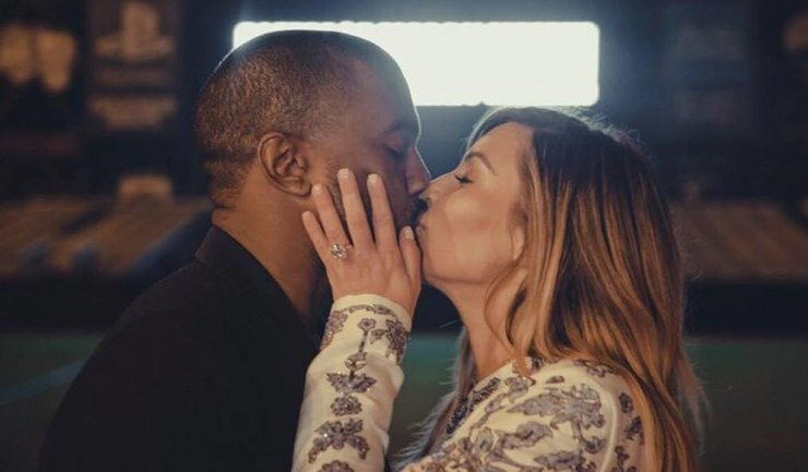 Kanye West and Kim Kardashian romantic kiss