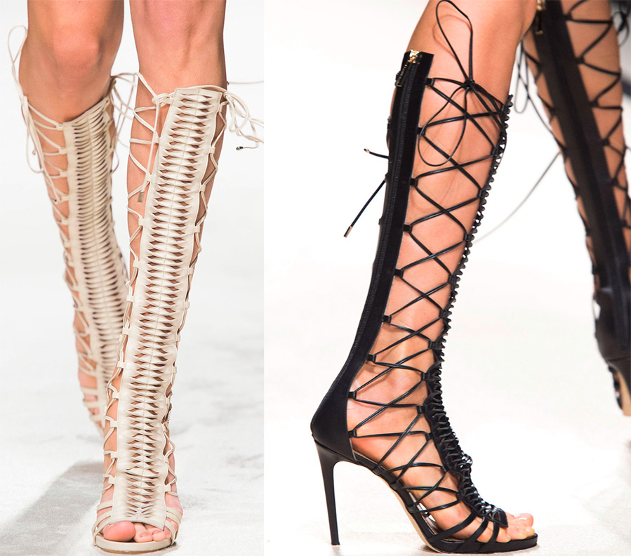 Gladiator sandals with laces up to the knee