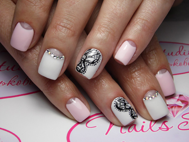 Half moon manicure designs on short nails