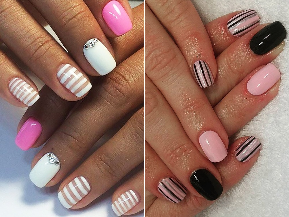 Striped gel nail designs