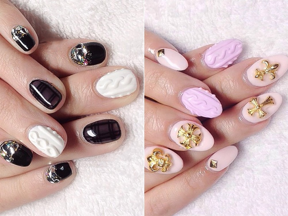 gel nail designs 2017 3D effect
