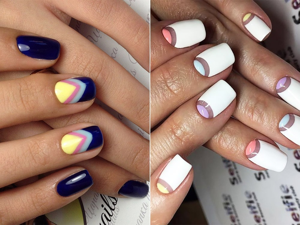 Gel half moon manicure 2017