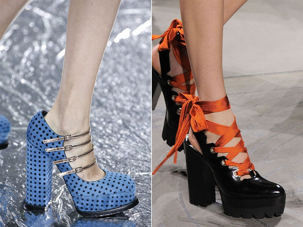 Shoes with thick heel and platform